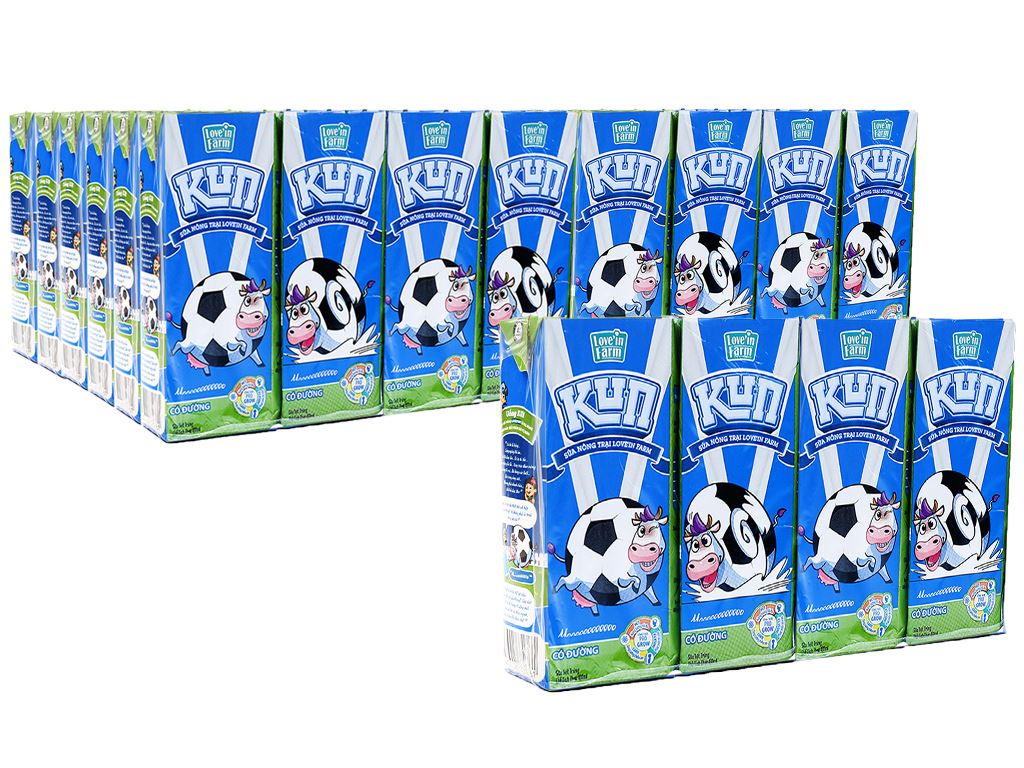 Thùng 48 hộp sữa tiệt trùng có đường LiF Kun hộp 180ml 1