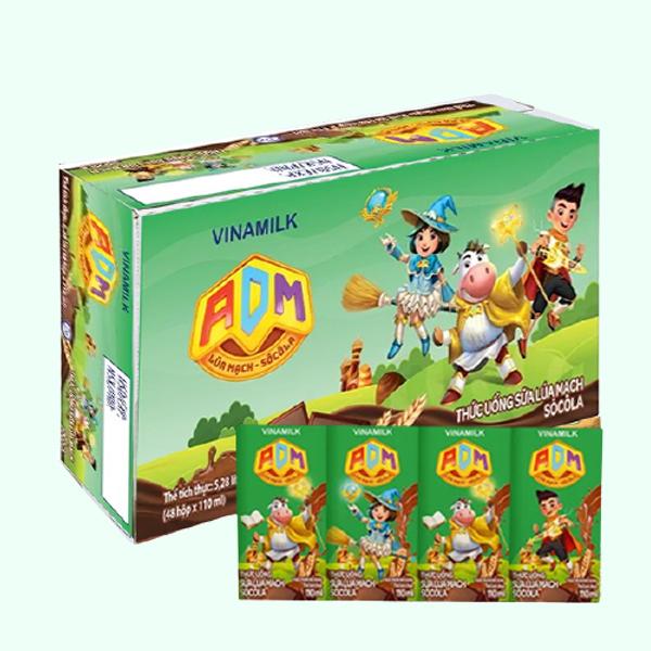 Thùng 48 hộp sữa dinh dưỡng lúa mạch Vinamilk ADM 110ml