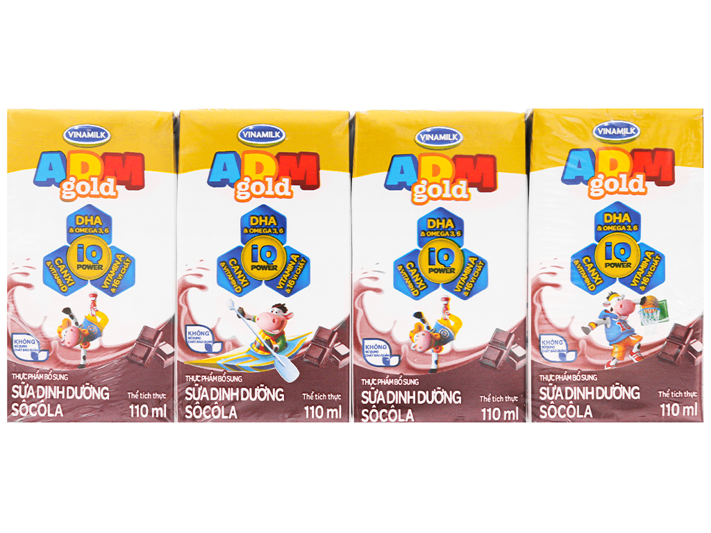 Thùng 48 hộp sữa dinh dưỡng socola Vinamilk ADM Gold 110ml 6
