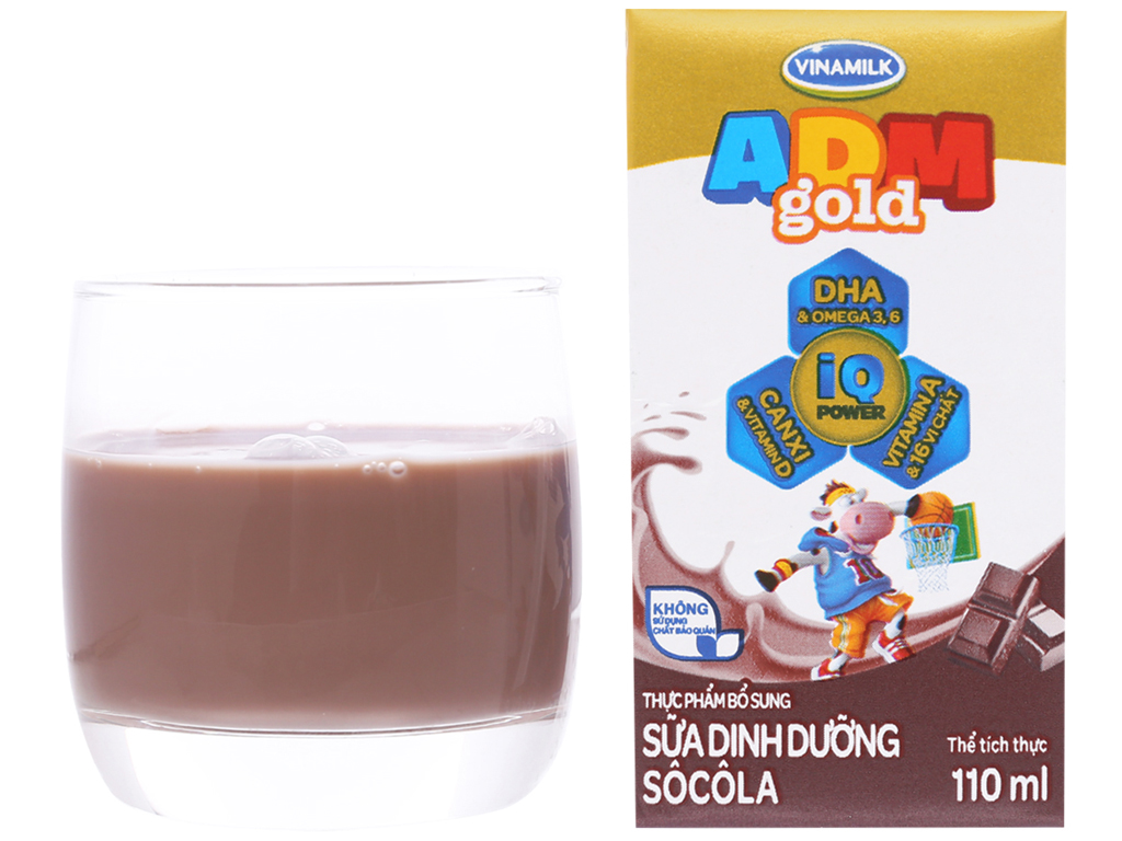 Thùng 48 hộp sữa dinh dưỡng socola Vinamilk ADM Gold 110ml 11