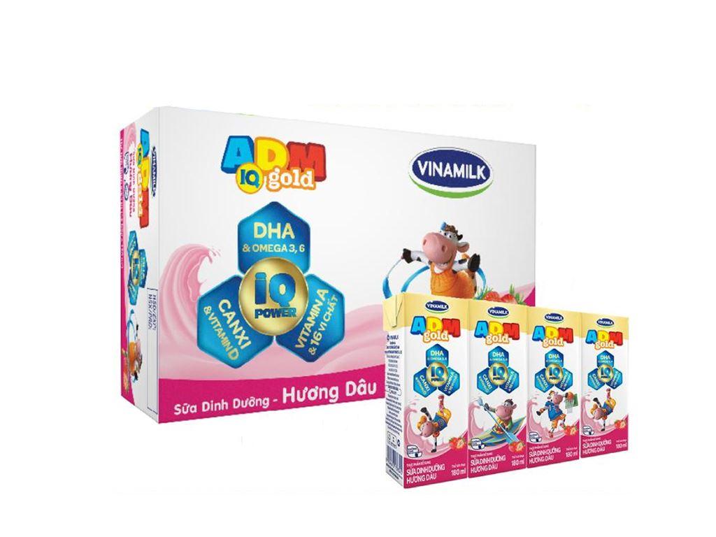 Thùng 48 hộp sữa dinh dưỡng hương dâu Vinamilk ADM Gold 110ml 1