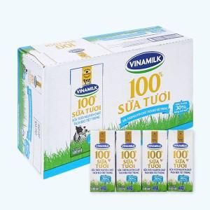 Thùng 48 hộp sữa tươi tách béo không đường Vinamilk 100% Sữa Tươi 180ml