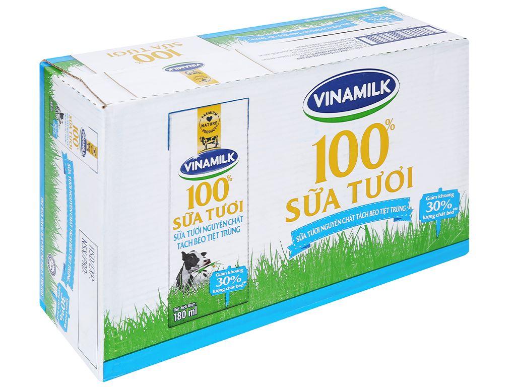 Thùng 48 hộp sữa tươi tách béo không đường Vinamilk 180ml 1