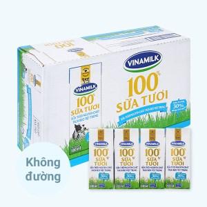 Thùng 48 hộp sữa tươi tách béo không đường Vinamilk 180ml