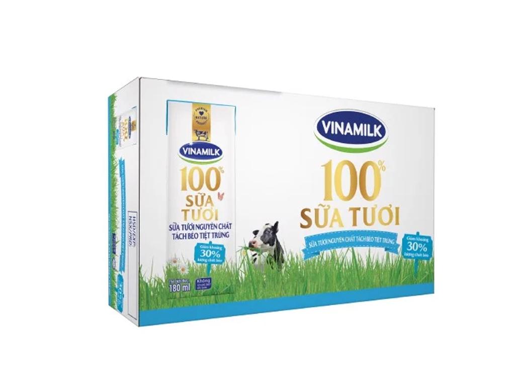 Thùng 48 hộp sữa tươi tách béo không đường Vinamilk 100% Sữa Tươi 180ml 1