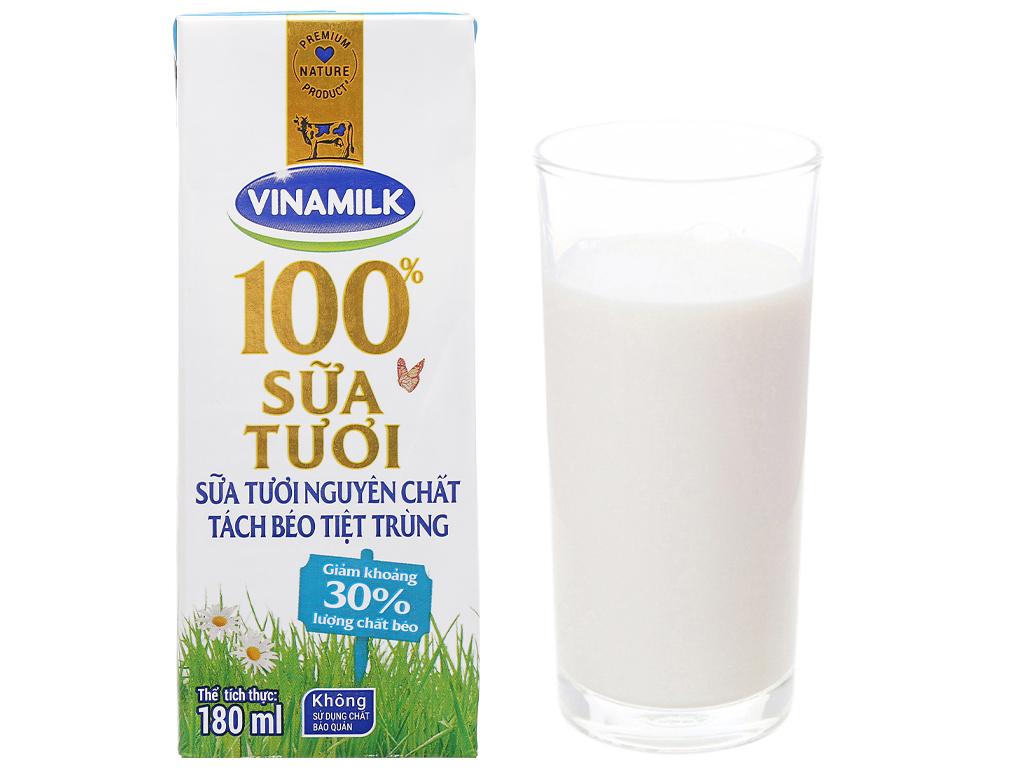 Thùng 48 hộp sữa tươi tách béo không đường Vinamilk 100% Sữa Tươi 180ml 13