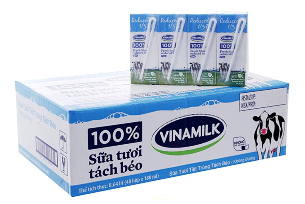 Thùng 48 hộp sữa tươi tiệt trùng Vinamilk 100% Sữa Tươi tách béo không đường 180ml 2