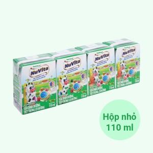 Lốc 4 hộp sữa tiệt trùng có đường Nuvita 110ml