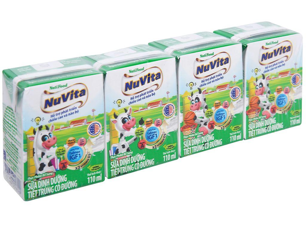Lốc 4 hộp sữa tiệt trùng có đường Nuvita 110ml 1