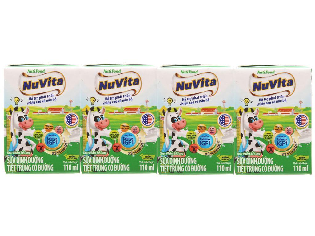 Lốc 4 hộp sữa tiệt trùng Nuvita có đường 110ml 1