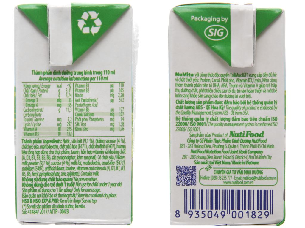Lốc 4 hộp sữa tiệt trùng Nuvita có đường 110ml 4