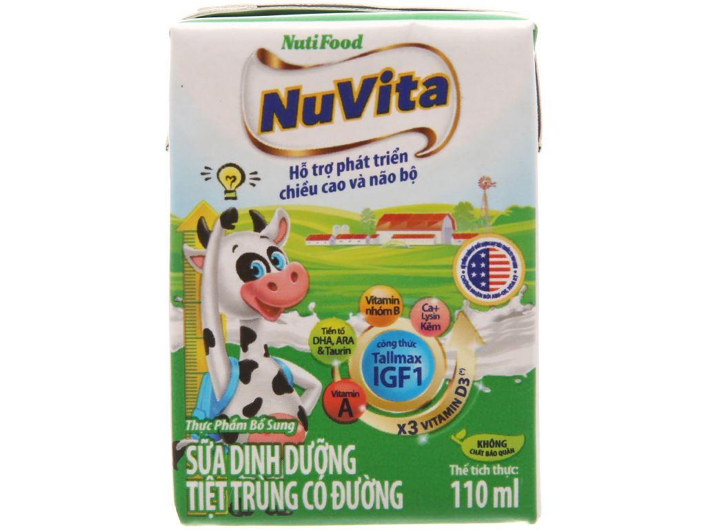 Lốc 4 hộp sữa tiệt trùng Nuvita có đường 110ml 2