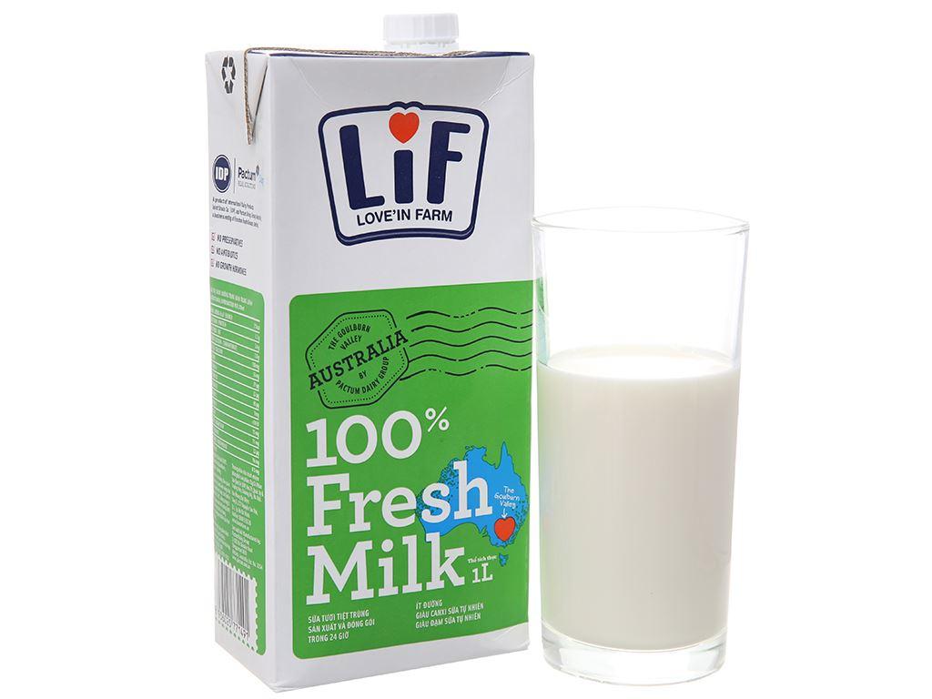 Sữa tươi tiệt trùng LiF ít đường hộp 1 lít 2