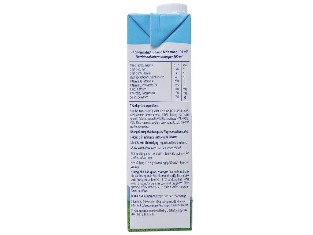 Thùng 12 hộp sữa tươi tiệt trùng Vinamilk 100% Sữa Tươi không đường 1 lít 4