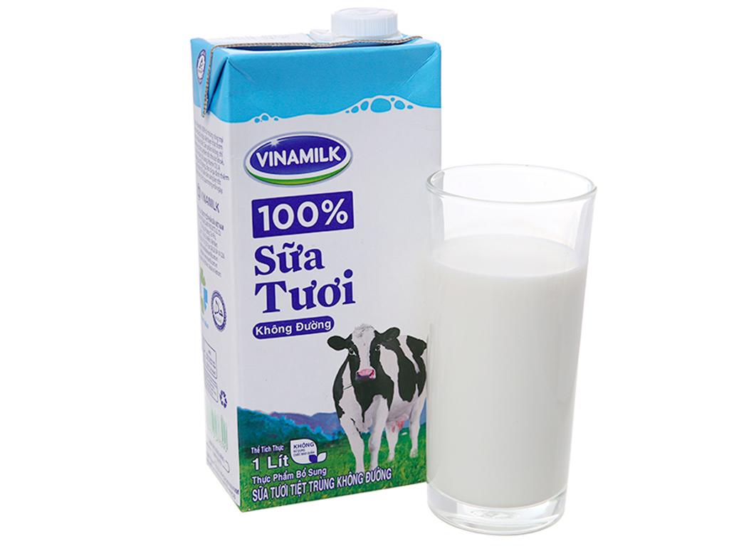 Thùng 12 hộp sữa tươi tiệt trùng Vinamilk 100% Sữa Tươi không đường 1 lít 2