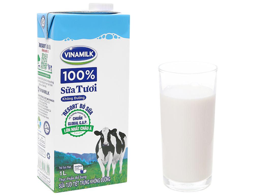 Thùng 12 hộp sữa tươi không đường Vinamilk 100% Sữa Tươi 1 lít 3