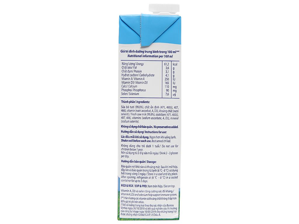 Thùng 12 hộp sữa tươi không đường Vinamilk 100% Sữa Tươi 1 lít 8