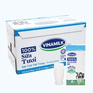 Thùng 12 hộp sữa tươi không đường Vinamilk 100% Sữa Tươi 1 lít