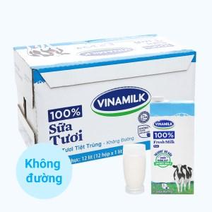 Thùng 12 hộp sữa tươi không đường Vinamilk 1 lít