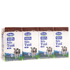 Lốc 4 hộp sữa tươi tiệt trùng Vinamilk 100% Sữa Tươi sô cô la 110ml