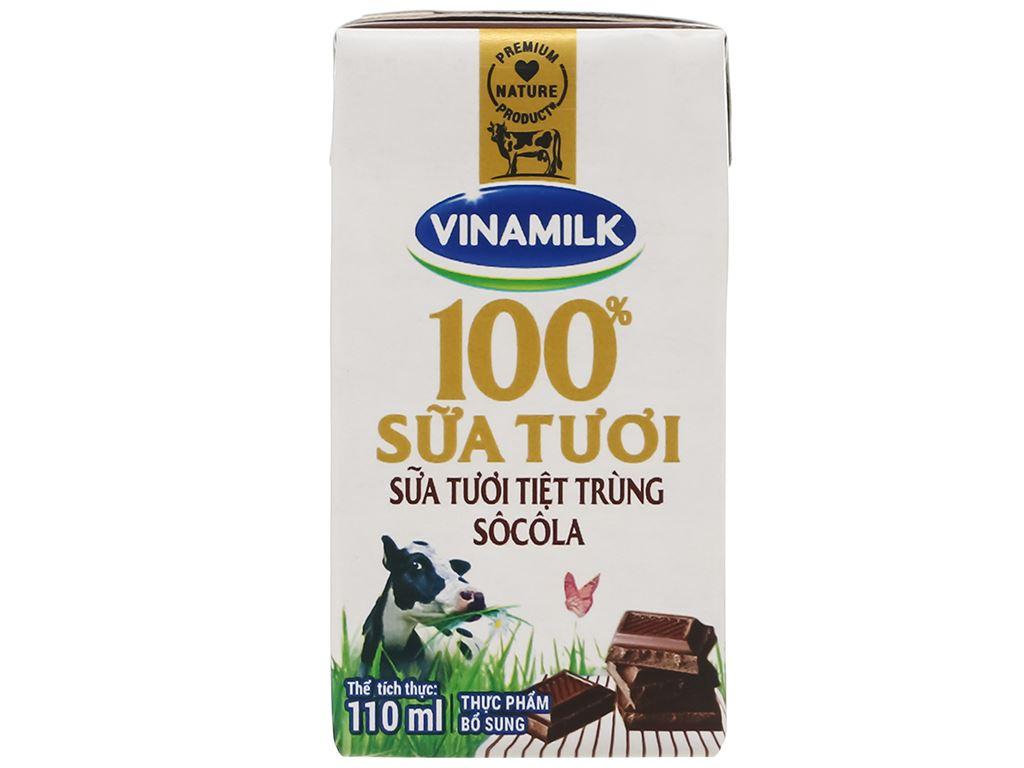 Lốc 4 hộp sữa tươi socola Vinamilk 100% Sữa Tươi 110ml 4