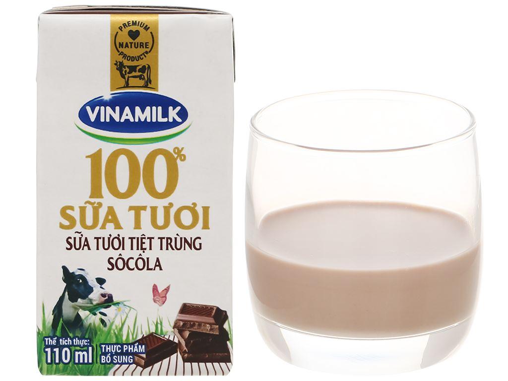 Lốc 4 hộp sữa tươi socola Vinamilk 100% Sữa Tươi 110ml 10
