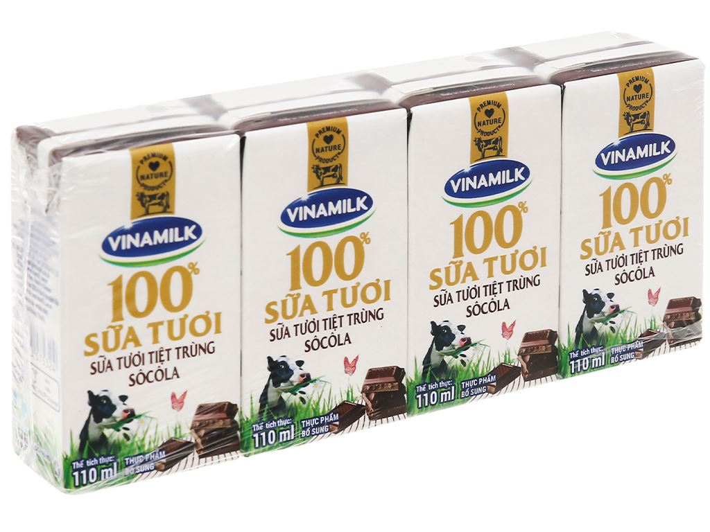 Lốc 4 hộp sữa tươi socola Vinamilk 100% Sữa Tươi 110ml 1