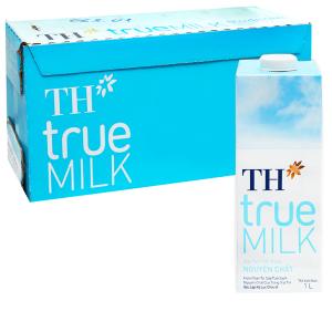 Thùng 12 hộp sữa tươi tiệt trùng nguyên chất không đường TH true MILK hộp 1 lít