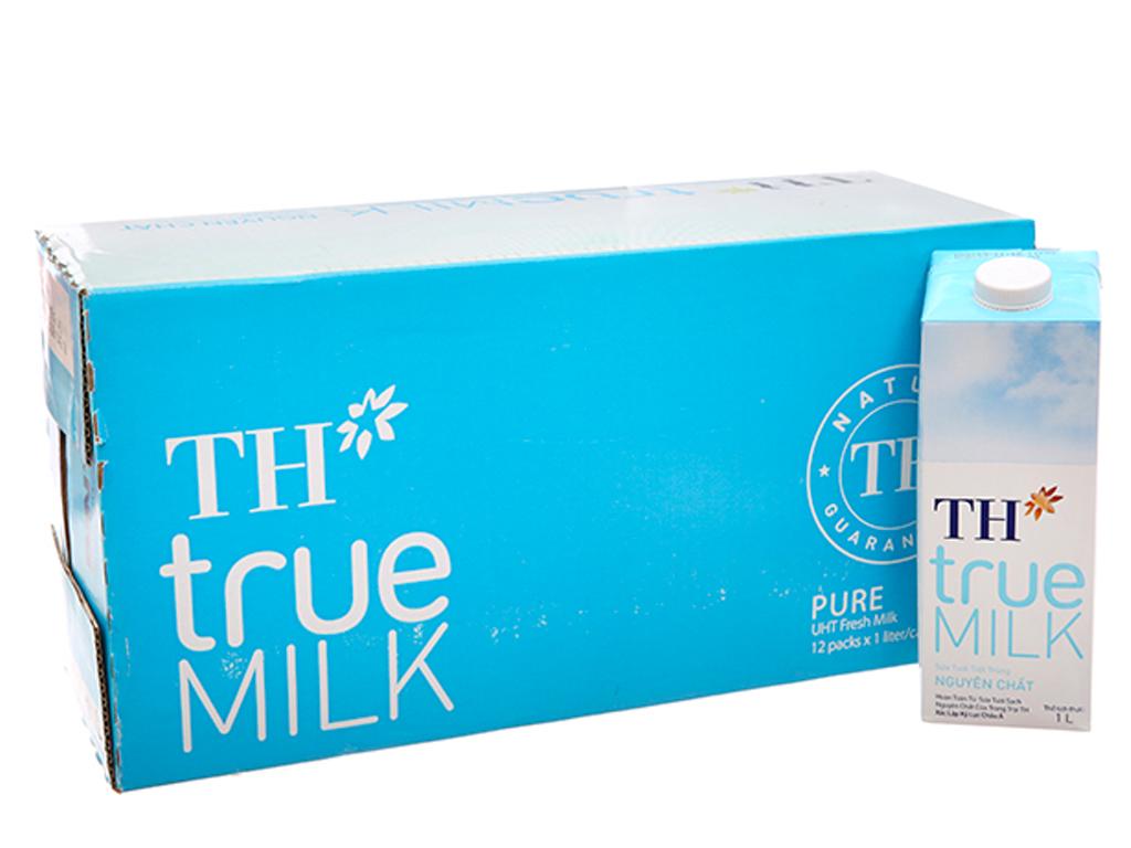 Thùng 12 hộp sữa tươi tiệt trùng nguyên chất không đường TH true MILK hộp 1 lít 1