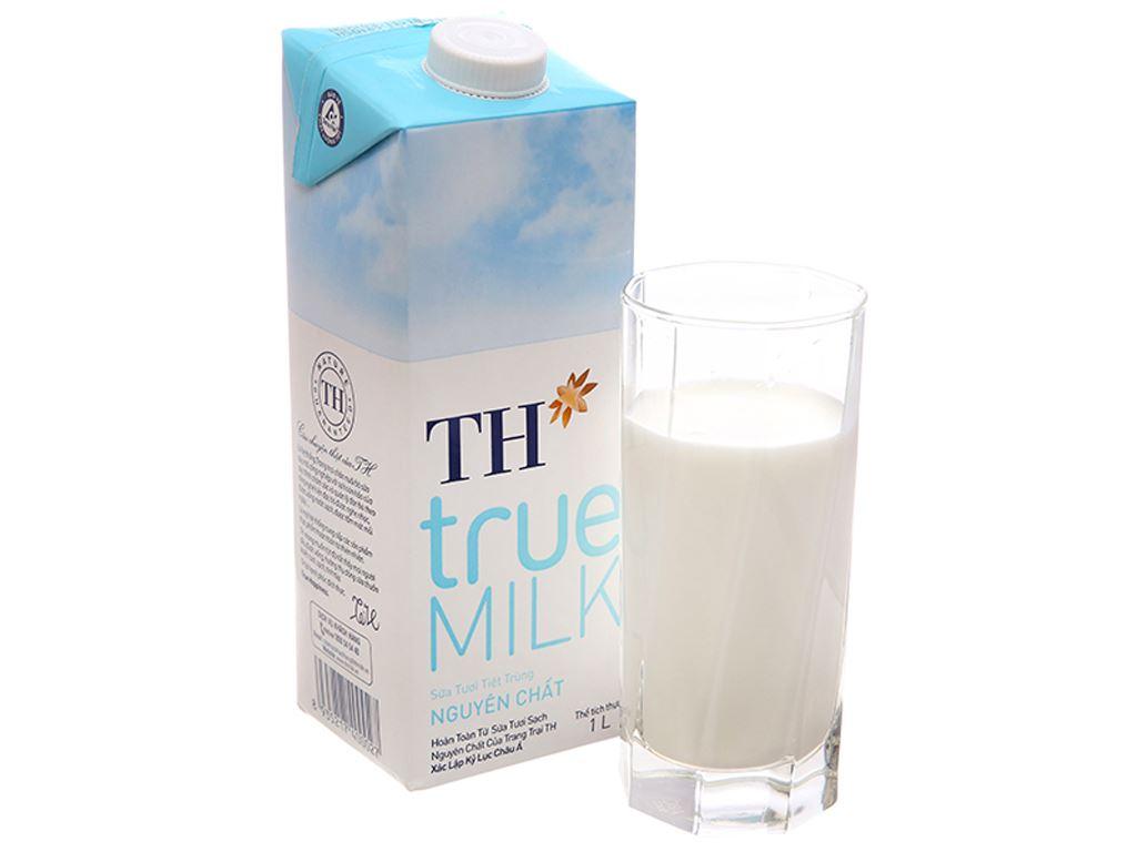 Thùng 12 hộp sữa tươi tiệt trùng nguyên chất không đường TH true MILK hộp 1 lít 2