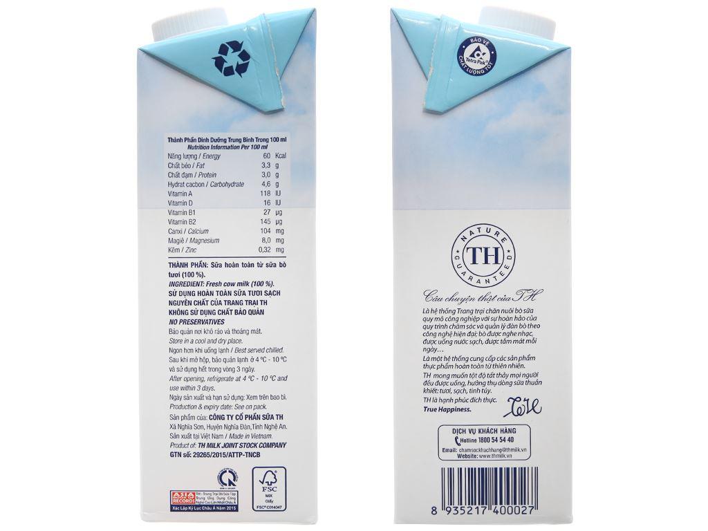 Thùng 12 hộp sữa tươi tiệt trùng nguyên chất không đường TH true MILK hộp 1 lít 4