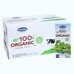 Thùng 12 hộp sữa tươi nguyên chất không đường Vinamilk 100% Organic 1 lít