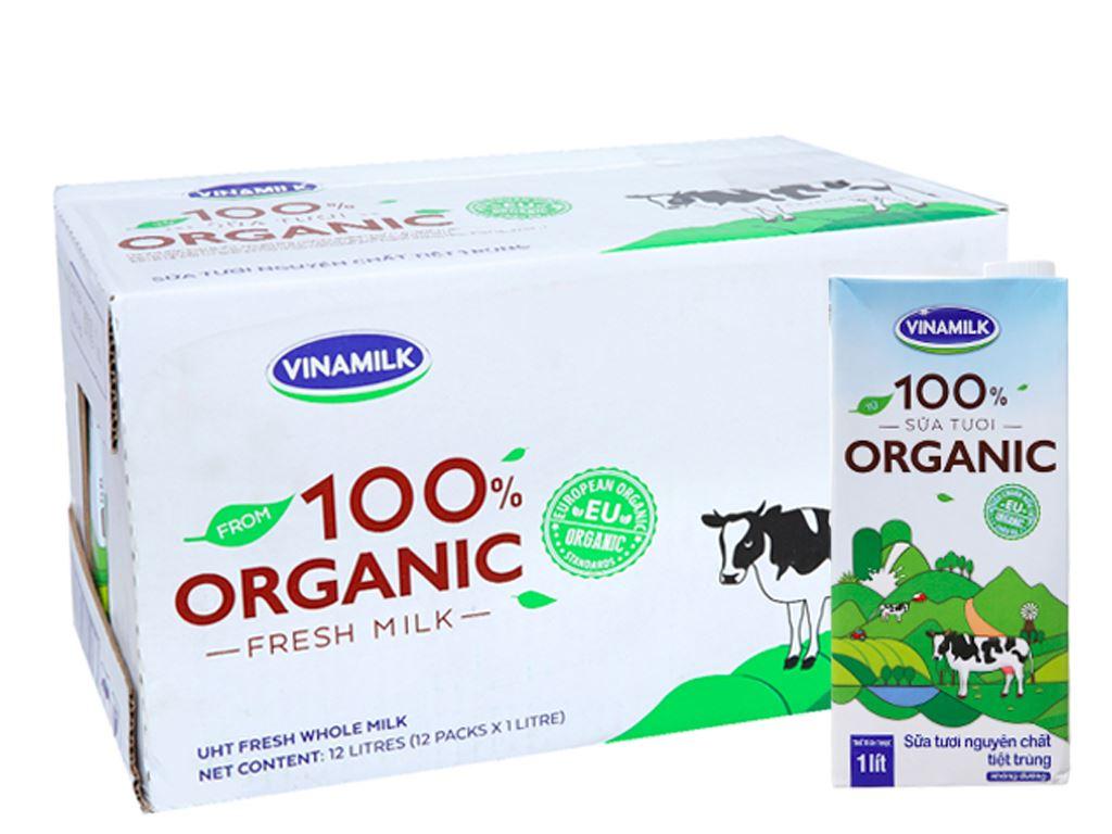 Thùng 12 hộp sữa tươi nguyên chất không đường Vinamilk 100% Organic 1 lít 1