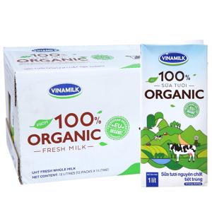 Thùng 12 hộp sữa tươi Vinamilk 100% Organic nguyên chất 1 lít