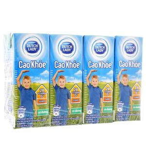 Lốc 4 hộp sữa tiệt trùng Dutch Lady Cao khoẻ có đường 170ml