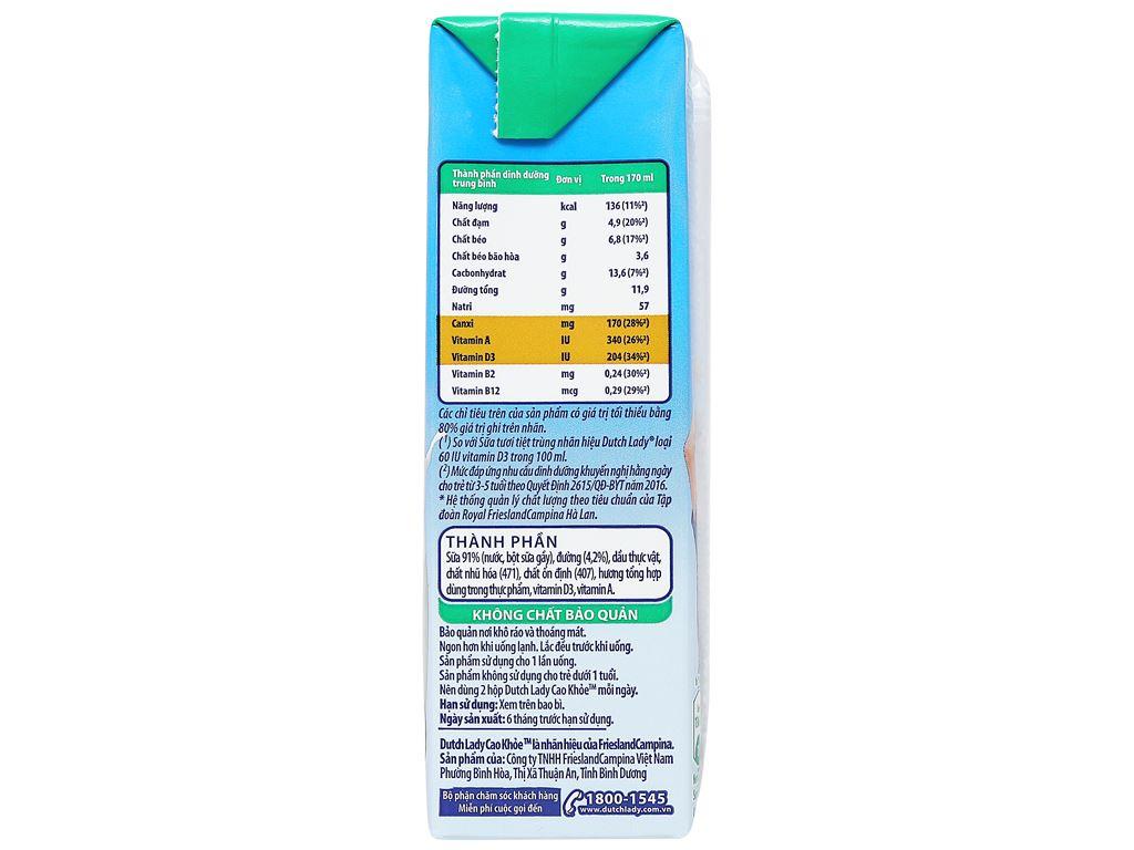 Lốc 4 hộp sữa tiệt trùng có đường Dutch Lady Cao khoẻ 170ml 10