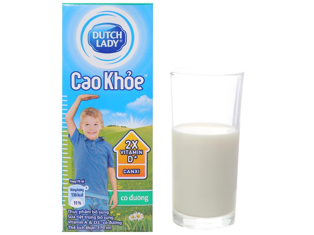 Thùng 48 hộp sữa tiệt trùng Dutch Lady Cao khoẻ có đường 170ml 7