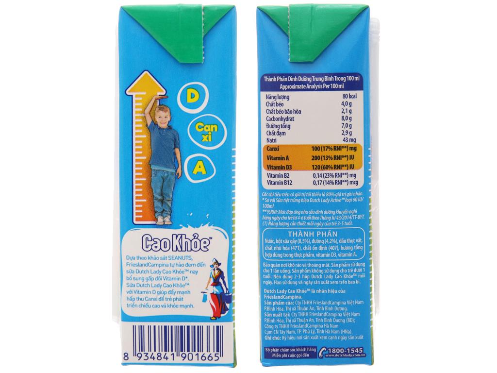 Thùng 48 hộp sữa tiệt trùng Dutch Lady Cao khoẻ có đường 170ml 5