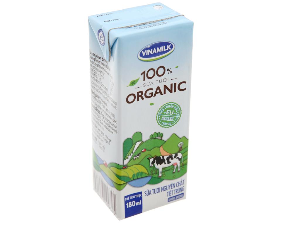 Sữa tươi tiệt trùng Vinamilk 100% Organic hộp 180ml 2
