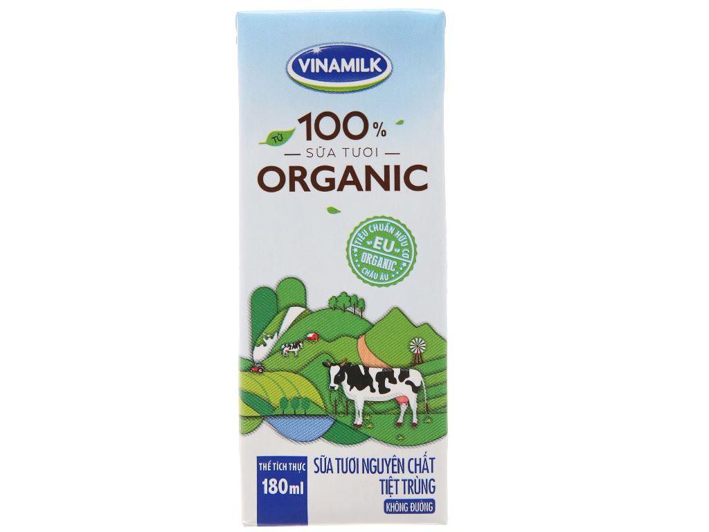 Sữa tươi tiệt trùng Vinamilk 100% Organic hộp 180ml 3