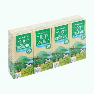 Lốc 4 hộp sữa tươi nguyên chất không đường Vinamilk 100% Organic 180ml
