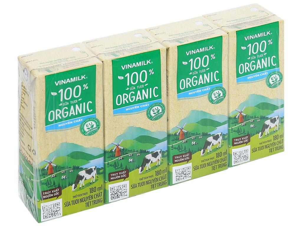 Lốc 4 hộp sữa tươi nguyên chất không đường Vinamilk 100% Organic 180ml 1