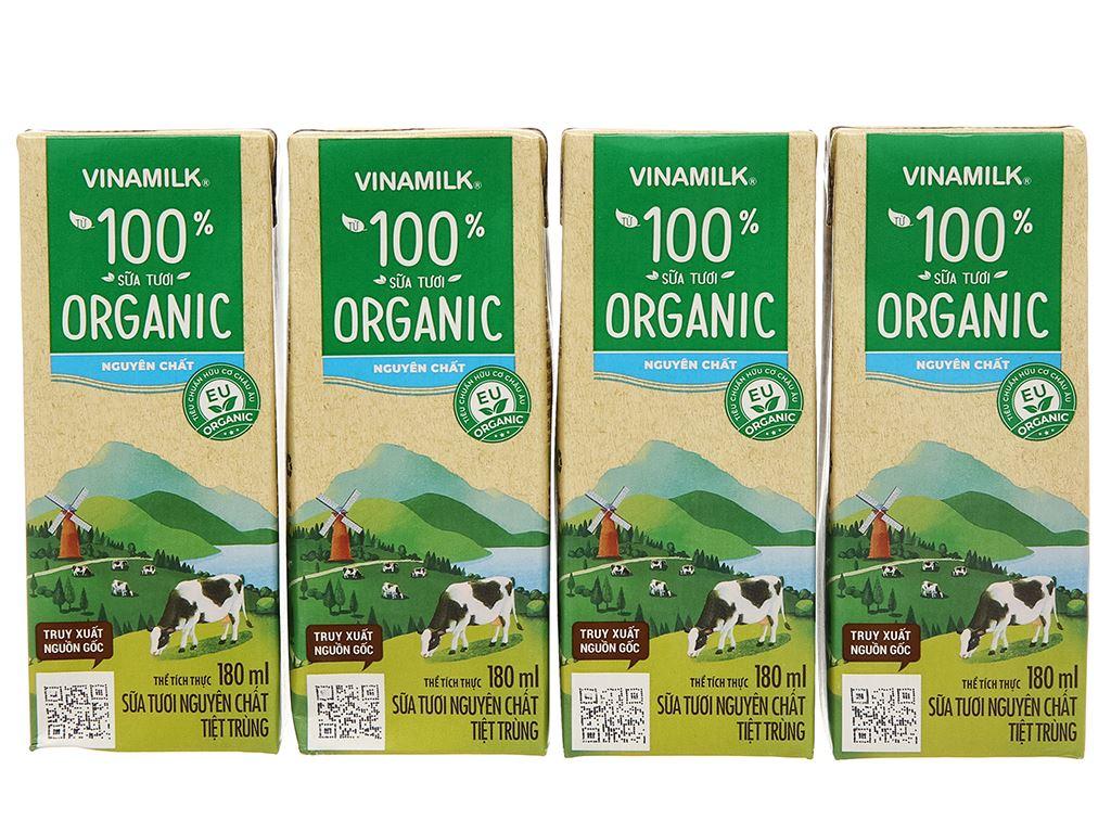 Lốc 4 hộp sữa tươi nguyên chất không đường Vinamilk 100% Organic 180ml 2