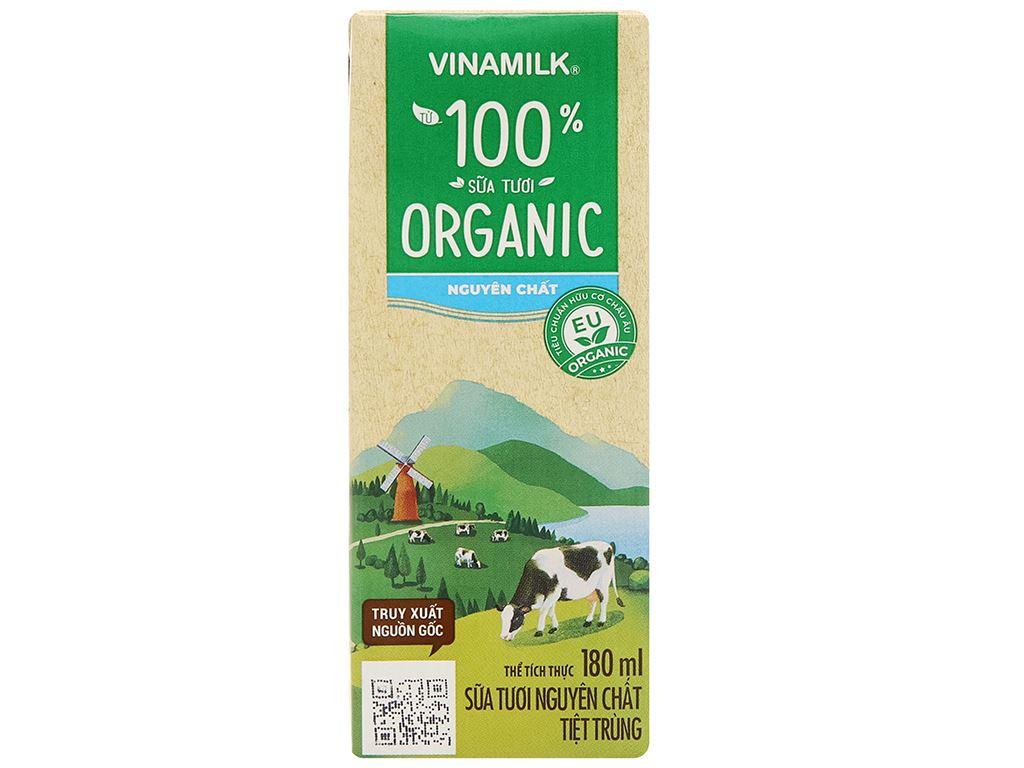 Lốc 4 hộp sữa tươi nguyên chất không đường Vinamilk 100% Organic 180ml 4