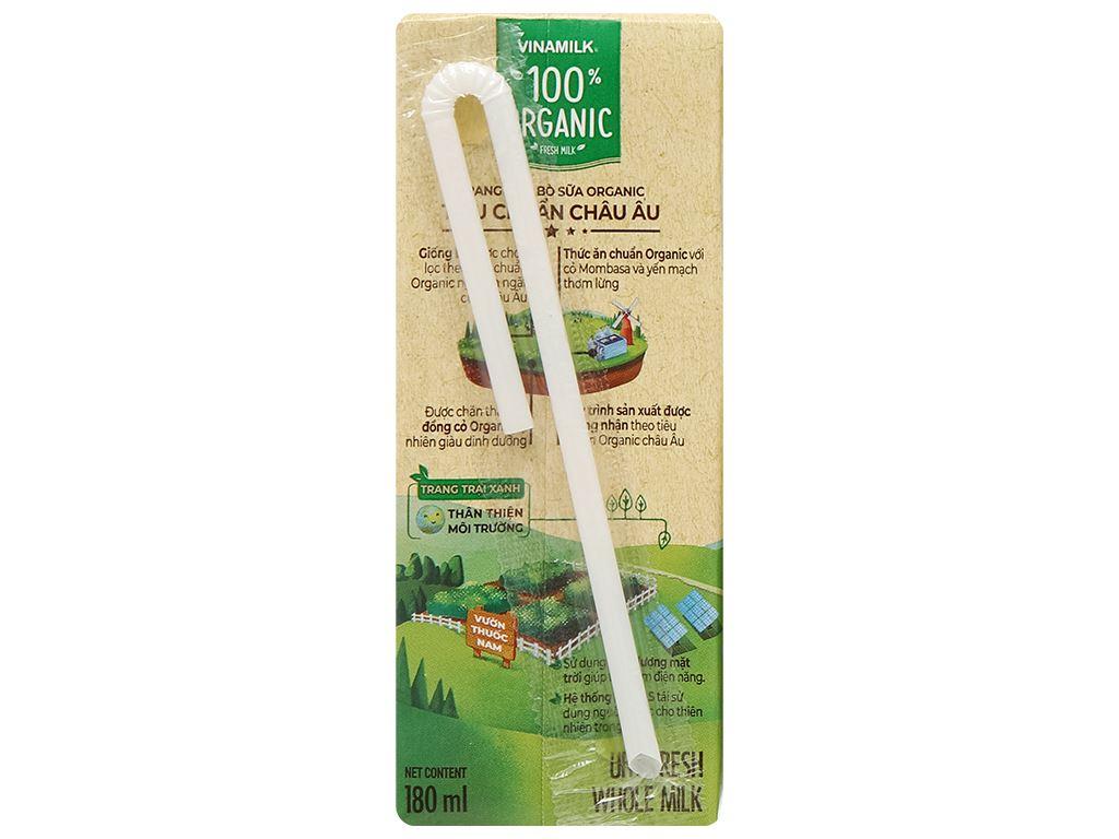 Lốc 4 hộp sữa tươi nguyên chất không đường Vinamilk 100% Organic 180ml 5