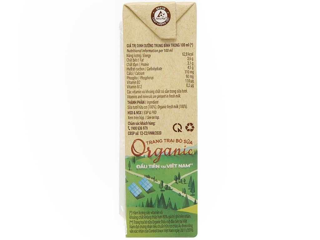 Lốc 4 hộp sữa tươi nguyên chất không đường Vinamilk 100% Organic 180ml 7