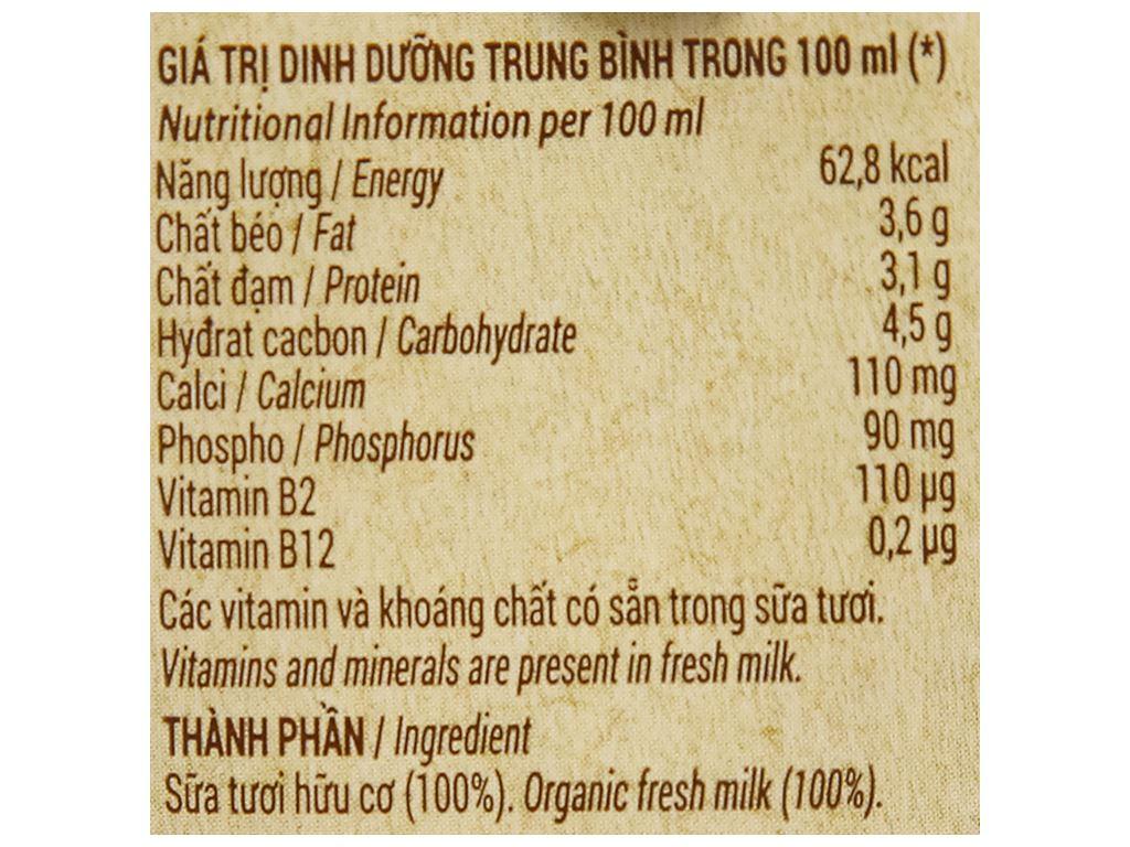 Lốc 4 hộp sữa tươi nguyên chất không đường Vinamilk 100% Organic 180ml 8
