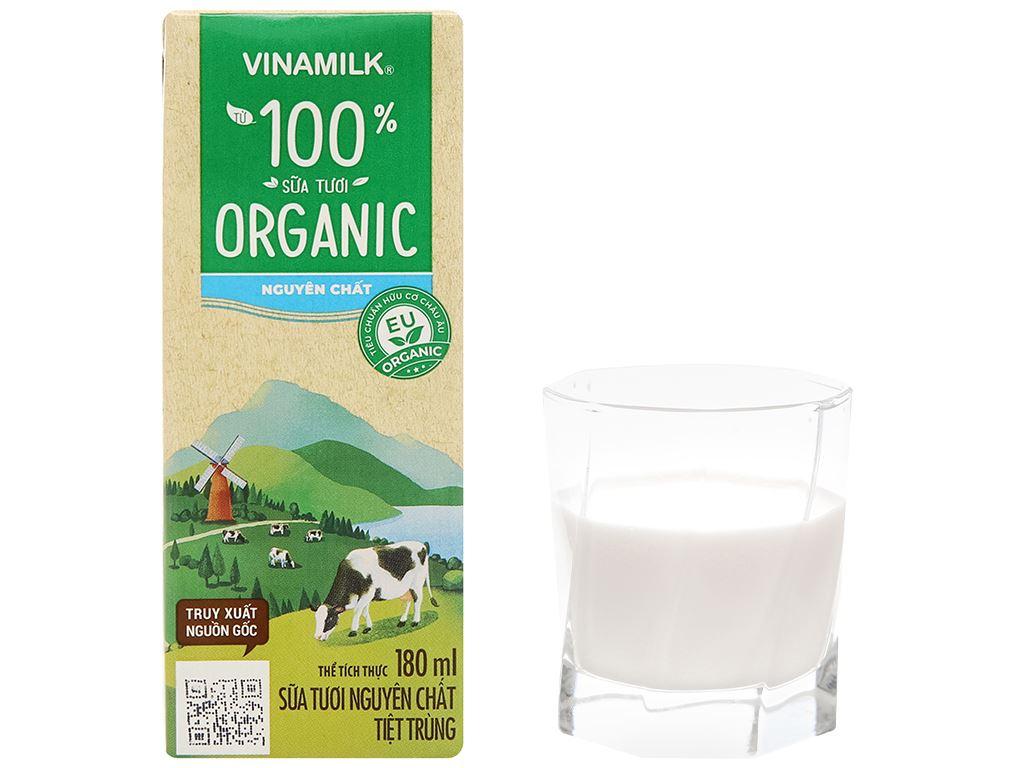 Lốc 4 hộp sữa tươi nguyên chất không đường Vinamilk 100% Organic 180ml 10