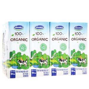 Lốc 4 hộp sữa tươi Vinamilk 100% Organic nguyên chất 180ml