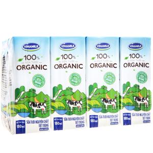 Lốc 4 hộp Vinamilk 100% Organic 180ml